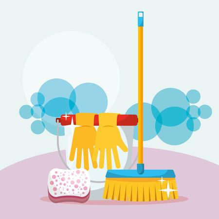 Ilustración de vector de limpieza de escoba y esponja de guantes de goma de cubo blanco