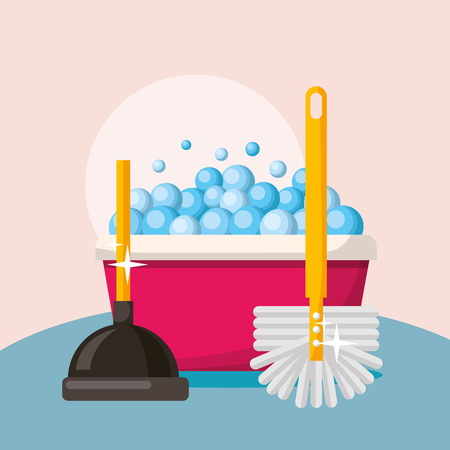 toile plunger brush and bucket foam cleaning vector illustration