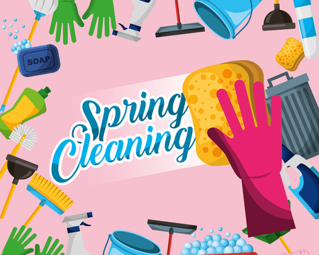 glove with sponge bin mop broom plunger detergent bottle spring cleaning vector illustration Stok Fotoğraf - 111977384