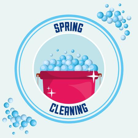 bucket bubbles tool sticker spring cleaning vector illustration Standard-Bild - 111977387