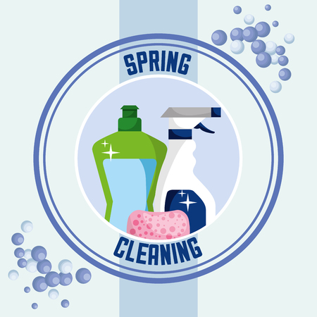 detergent bottle spray sponge sticker spring cleaning vector illustration Standard-Bild - 111977390