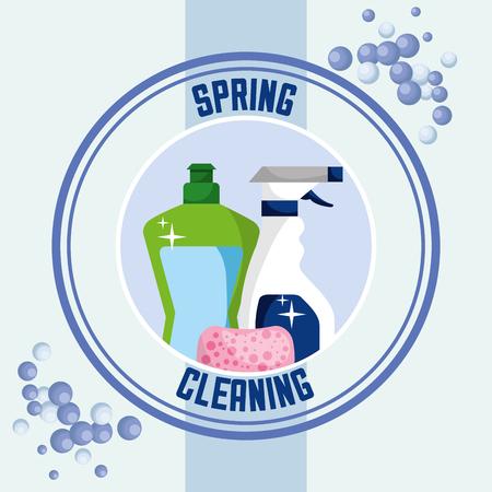 detergent bottle spray sponge sticker spring cleaning vector illustration