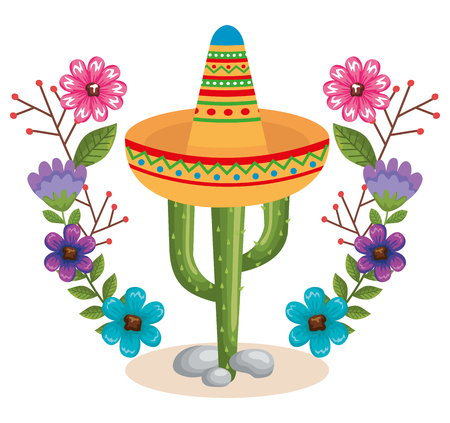 mexican culture cactus and hat vector illustration design