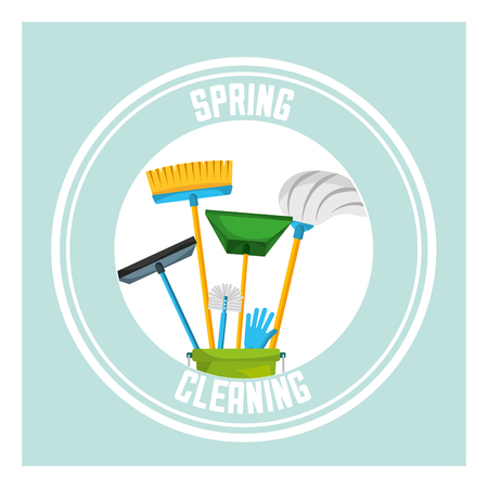bucket mop broom squeegee glove sticker spring cleaning vector illustration Illustration