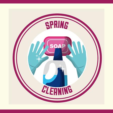 gloves soap and detergent bottle sticker spring cleaning vector illustration Foto de archivo - 111977393