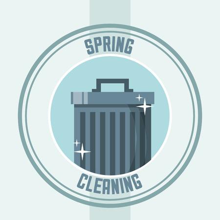 Poubelle avec illustration vectorielle de nettoyage de printemps autocollant cap
