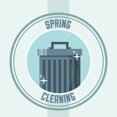 trash can with cap sticker spring cleaning vector illustration