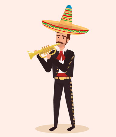 mariachi mexicano con ilustración de vector de personaje de trompeta