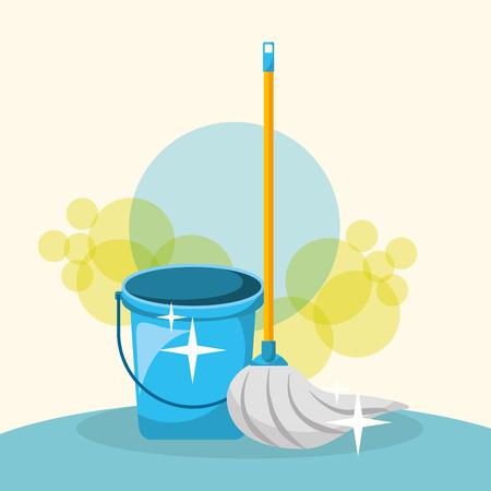 Mopp und blaue Eimerwerkzeuge, die Vektorillustration reinigen Vektorgrafik