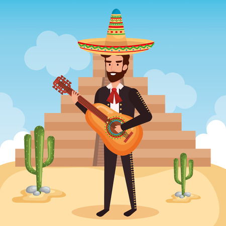 mexican mariachi with guitar character vector illustration Banque d'images - 111977398