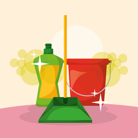 bucket dustpan and detergent bottle cleaning vector illustration
