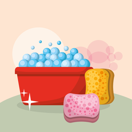 bucket sponges bubbles domestic cleaning vector illustration