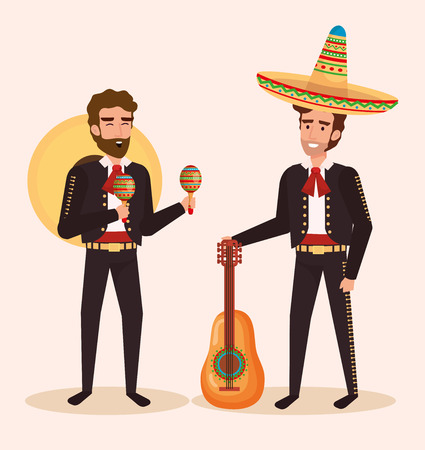 group mexican mariachis with instruments vector illustration Vectores