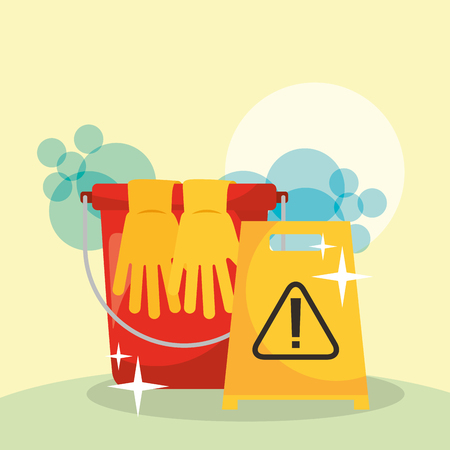 bucket gloves and warning board cleaning vector illustration Illusztráció