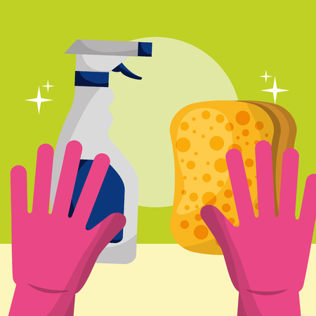 rubber gloves sponge and spray detergent cleaning vector illustration Stock Illustratie
