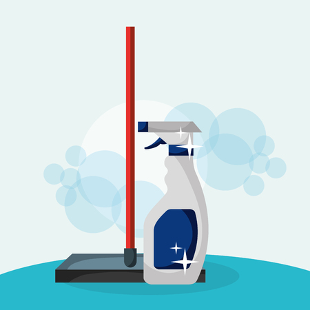 glass scraper and detergent in spray cleaning vector illustration