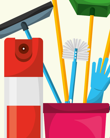 bucket toilet brush glove dustpan and air freshener spring cleaning vector illustration