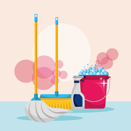 bucket foam broom mop and spray detergent cleaning vector illustration