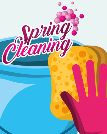 rubber glove sponge and bucket spring cleaning vector illustration Ilustrace