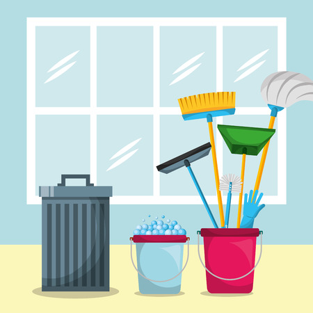 trash bucket mop broom glove glass scraper and dustpan window vector illustration Stockfoto - 106459434