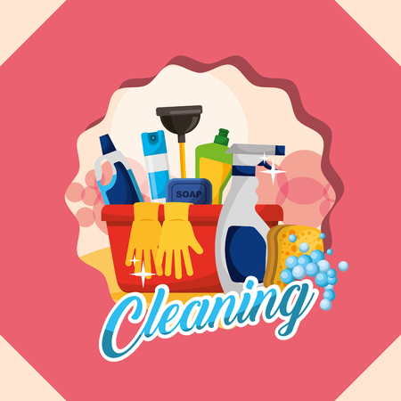 basin gloves spray plunger bottle soap tools cleaning vector illustration Illusztráció