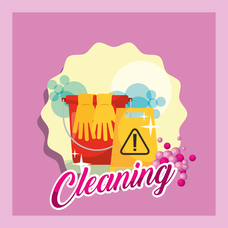 bucket gloves and warning board cleaning vector illustration Archivio Fotografico - 111977413