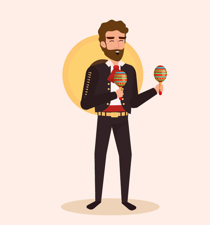 mexican mariachi with maracas character vector illustration  イラスト・ベクター素材