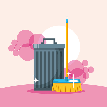 trash can and broom cleaning tools vector illustration Illustration