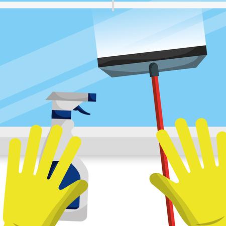 rubber gloves glass scraper and spray liquid vector illustration
