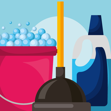 bucket and toilet plunger plastic bottle detergent cleaning vector illustration