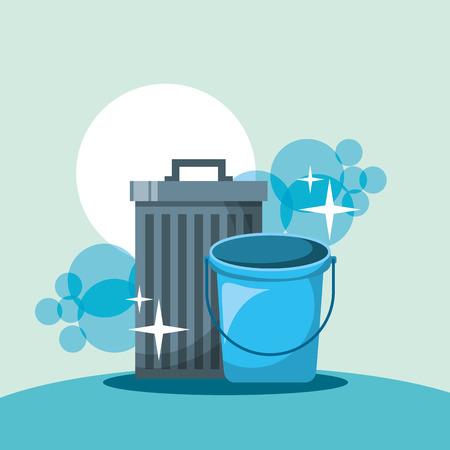 illustrazione vettoriale degli strumenti di pulizia del secchio della pattumiera
