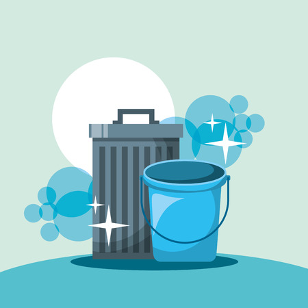 trash can bucket cleaning tools vector illustration