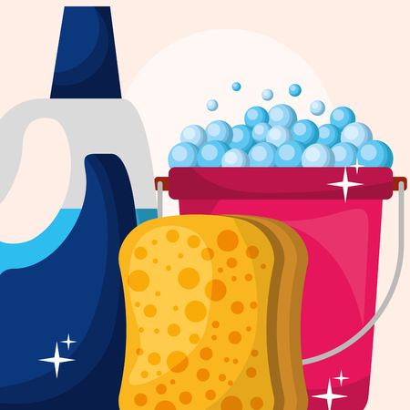seau, éponge, et, détergent, bouteille, nettoyage, vecteur, illustration
