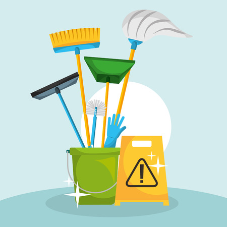 bucket with mop broom dustpan glove and brush cleaning vector illustration Stock Illustratie