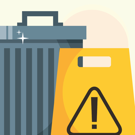 trash can warning board cleaning vector illustration