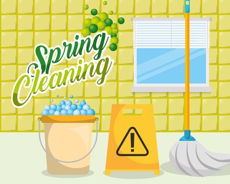 yellow bucket mop bathroom warning board spring cleaning vector illustration Illustration