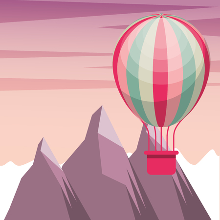 bike repair and shop mountain hot air balloon vintage style background vector illustration