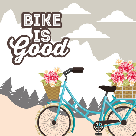 bike repair and shop flowers bicycle moutains ride clouds vector illustration Illustration