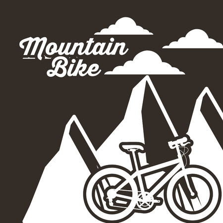 bike repair and shop clouds mountain bicycle vector illustration