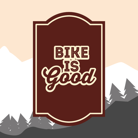 bike repair and shop frame sign mountains vector illustration Illustration