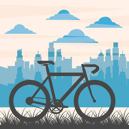 bike repair and shop clouds city street ride vector illustration