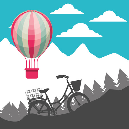 bike repair and shop color hot air balloon mountain ride up vector illustration