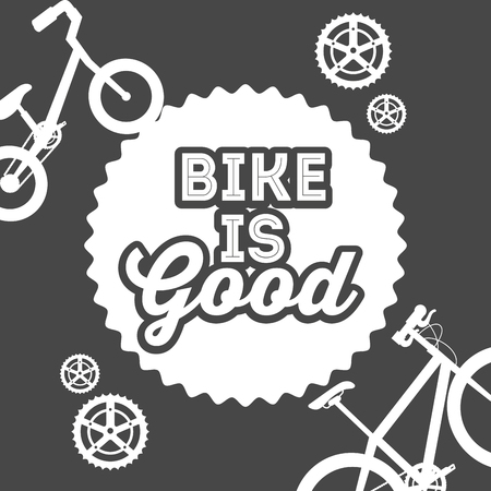 bike repair and shop label sign wheels bicycle vector illustration
