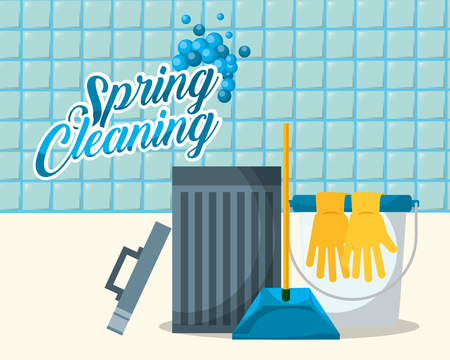 bin bucket rubber gloves dustpan spring cleaning vector illustration