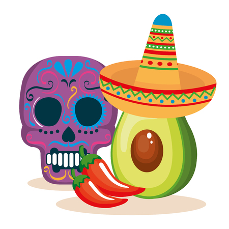 day of the dead mask with mexican food vector illustration Archivio Fotografico - 111977433
