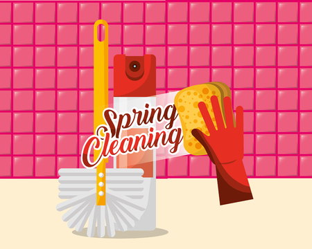 red glove brush and spray can spring cleaning vector illustration