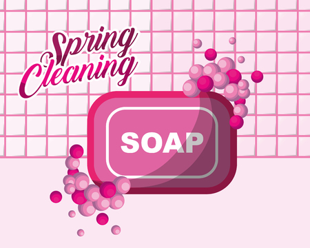 pink soap bubbles spring cleaning vector illustration Stock Illustratie
