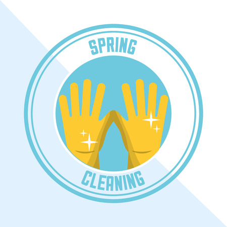yellow rubber gloves sticker spring cleaning vector illustration Illustration
