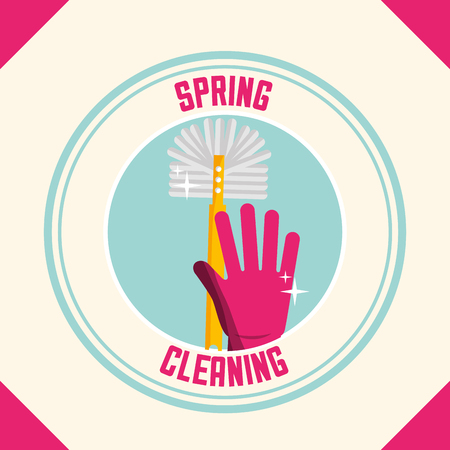 pink rubber glove with brush sticker spring cleaning vector illustration