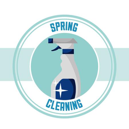plastic spray bottle sticker spring cleaning vector illustration Ilustrace